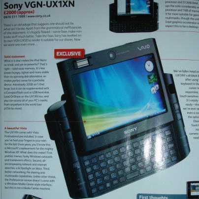 Sony 20UX1XN - Finalmente in Europa il Sony Vaio VGN-UX1XN