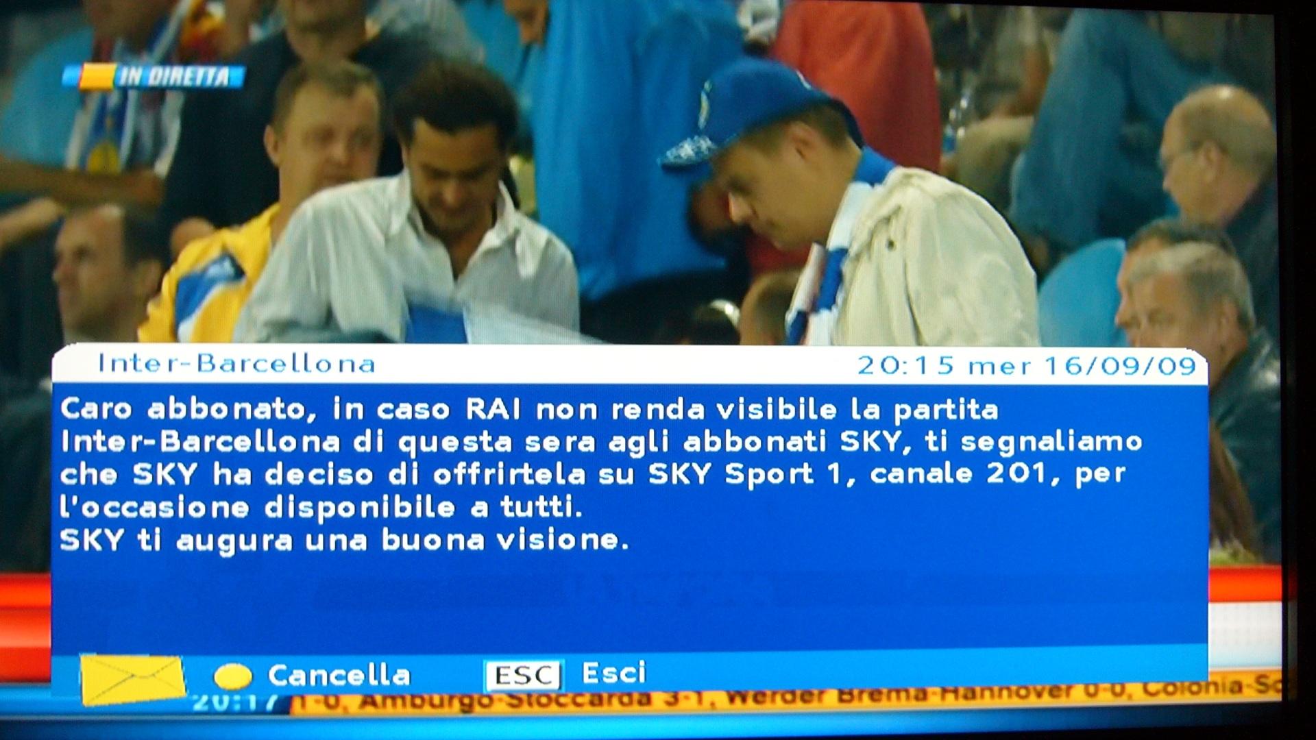 avviso inter barcellona skysport1 - SKY apre Inter-Barcellona ai suoi abbonati
