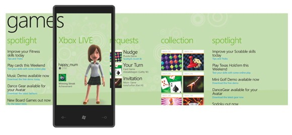 xboxphonegames1 - Gamescom 2010: Xbox Live arriva sui cellulari Windows Phone 7