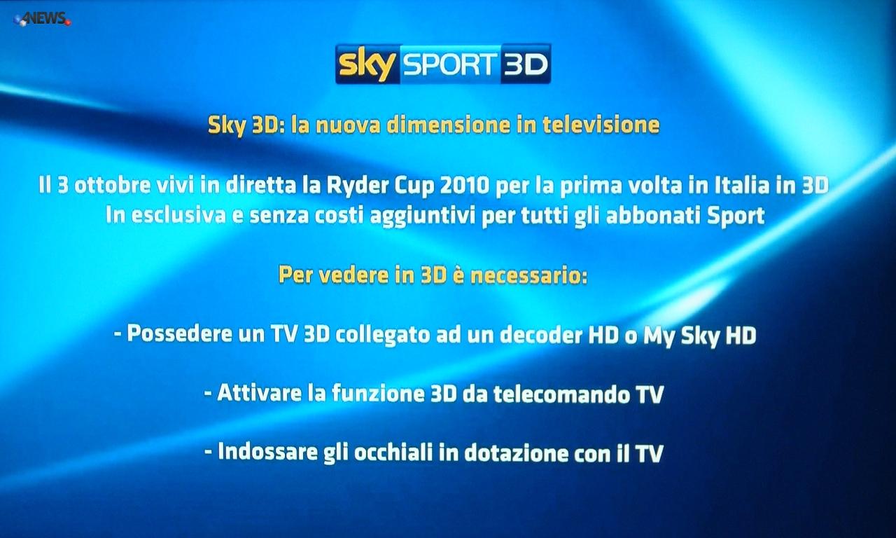 sky sport 3d ryerscup - Nasce Sky Sport 3D e debutta con la Ryder Cup