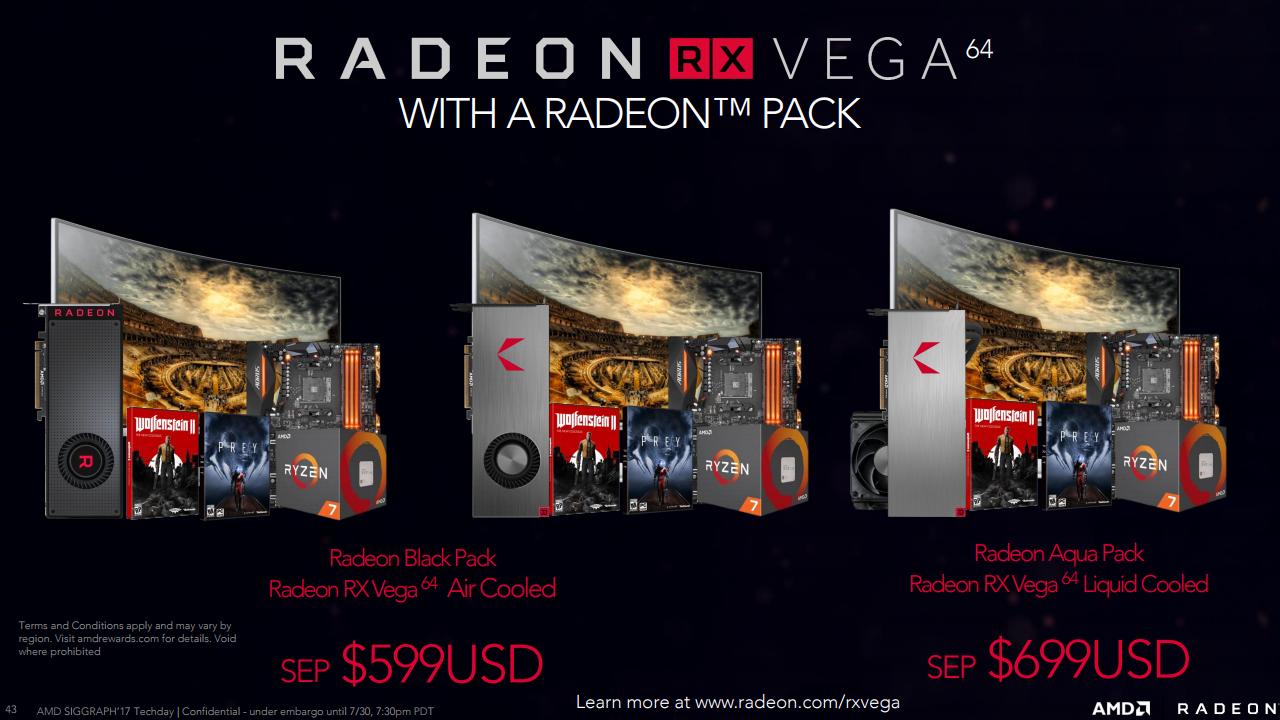 AMD Radeon RX Vega 64 Radeon Packs - AMD, svelati ufficialmente prezzi e specifiche delle nuove GPU RX Vega 56 e RX Vega 64