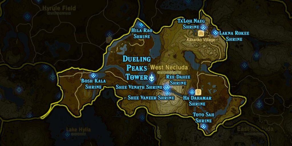 Dueling Peaks Region 1024x512 - The Legend Of Zelda Breath of The Wild, guida alla posizione di tutti i Santuari