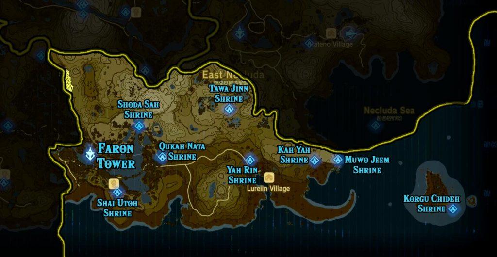 Faron Region 1024x530 - The Legend Of Zelda Breath of The Wild, guida alla posizione di tutti i Santuari