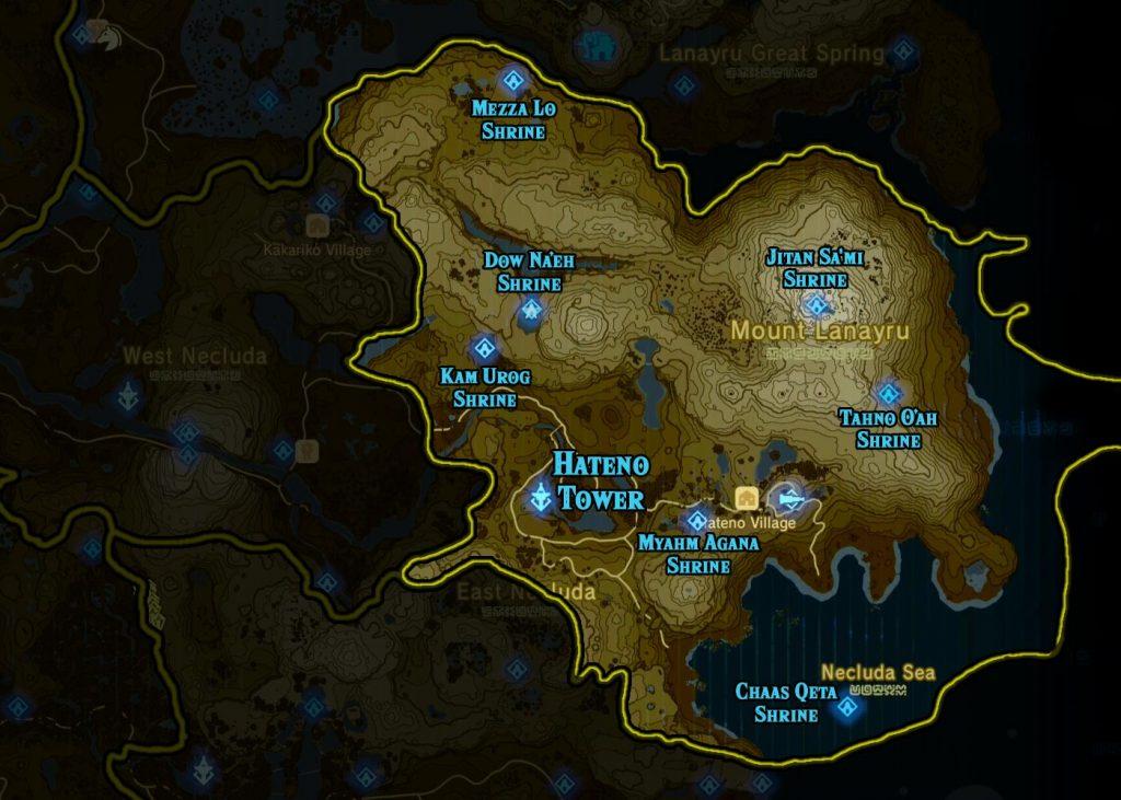 Hateno Region 1024x731 - The Legend Of Zelda Breath of The Wild, guida alla posizione di tutti i Santuari