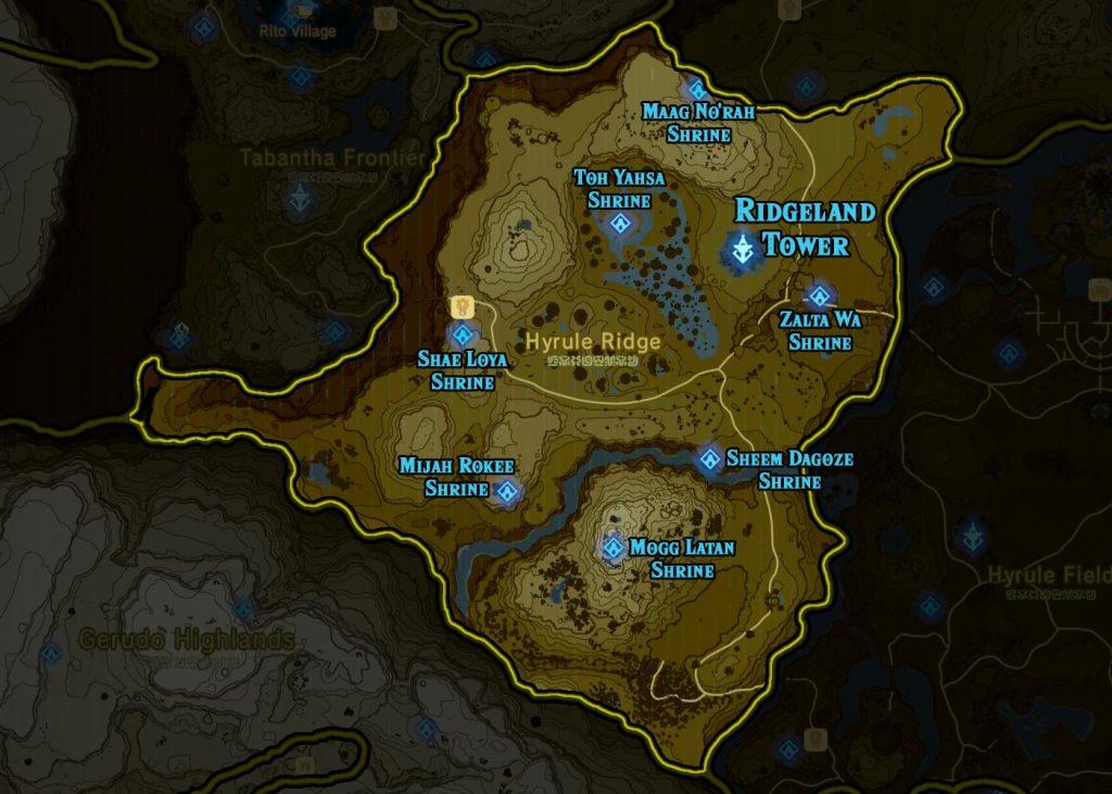Ridgeland Region 1024x731 - The Legend Of Zelda Breath of The Wild, guida alla posizione di tutti i Santuari