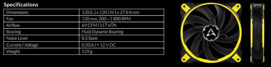 specifiche BioniXf120 - Recensione Ventole Arctic BioniX F120