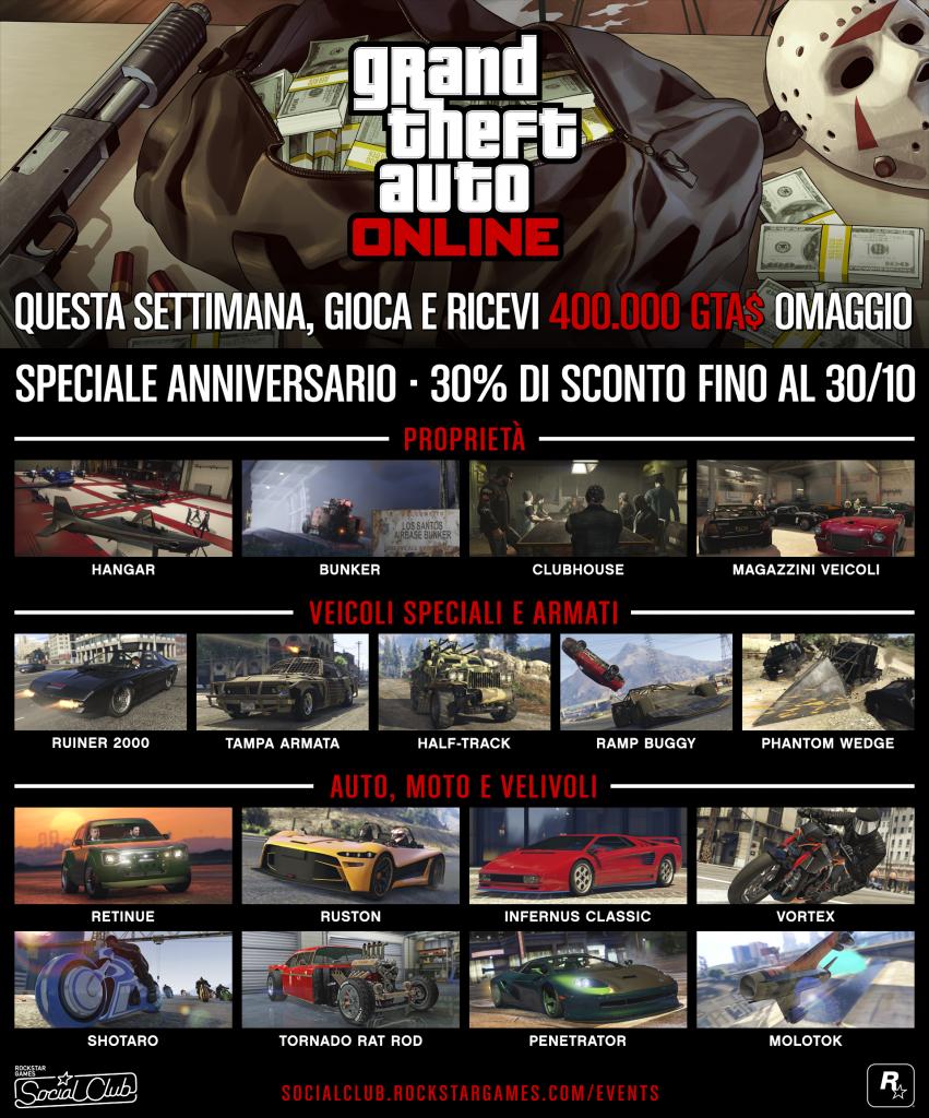 GTA Online  851x1024 - GTA Online, annunciati gli eventi per il 4° anniversario