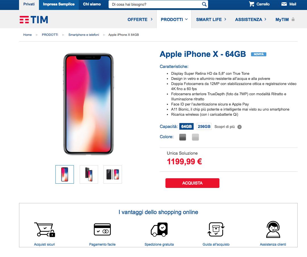 TimvenditaiphoneX64gb - iPhone X: le offerte degli operatori italiani per ricaricabili e abbonamento
