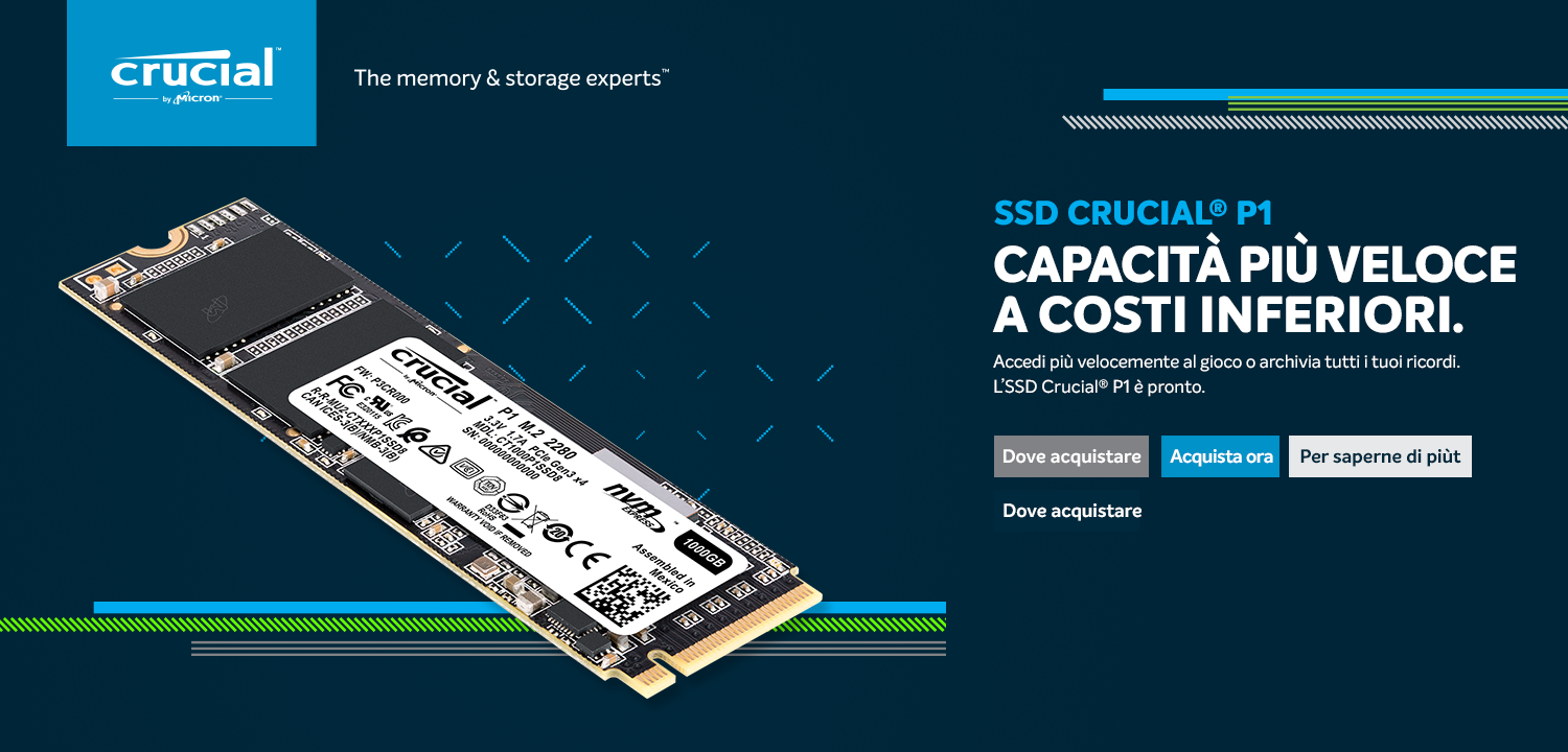 Crucial P1 SSD Graphic Template IT - Da Crucial un nuovo SSD NVMe con interfaccia PCIe