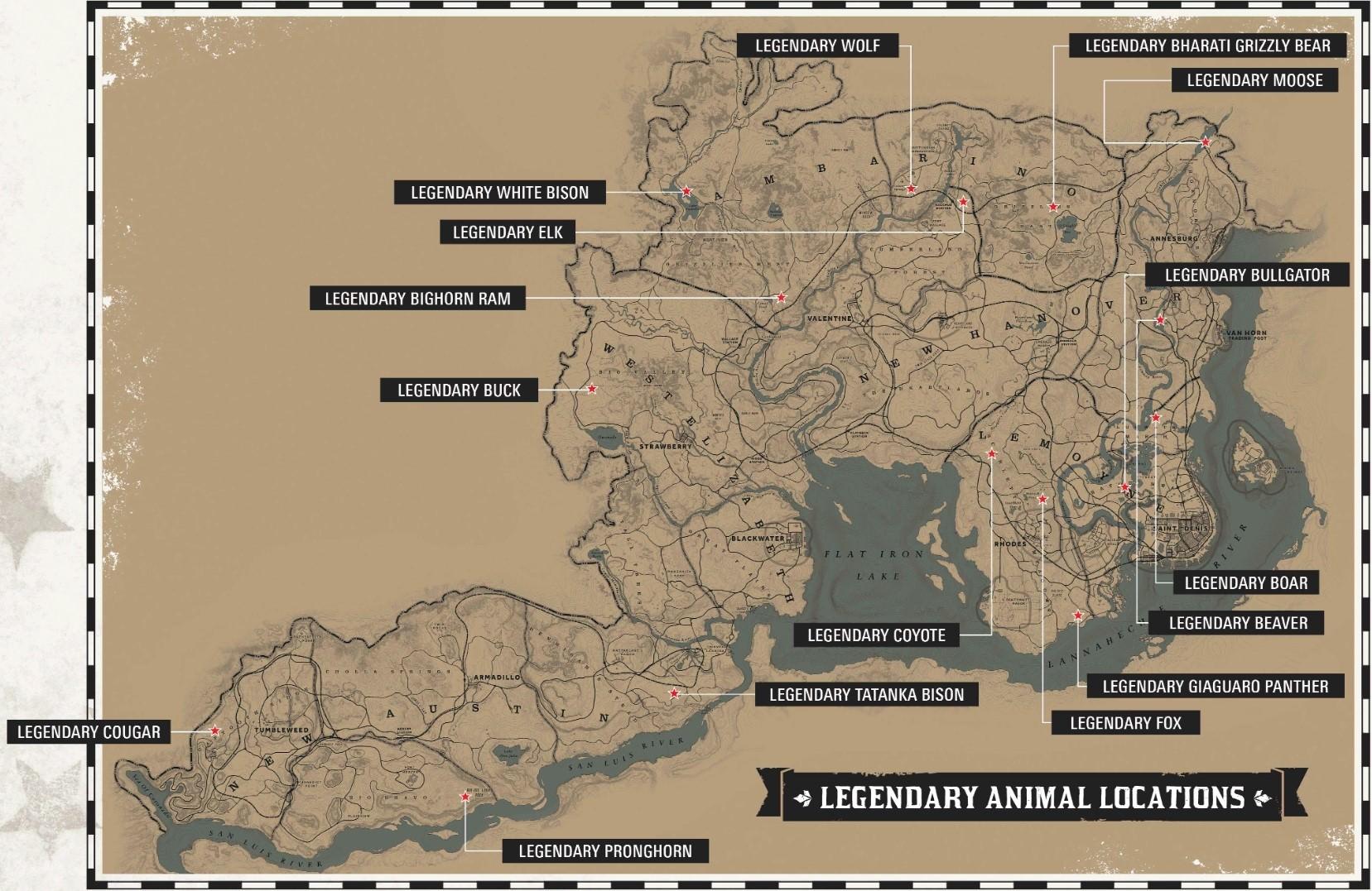 legendary animals location map marked - Red Dead Redemption 2, dove trovare tutti gli animali leggendari