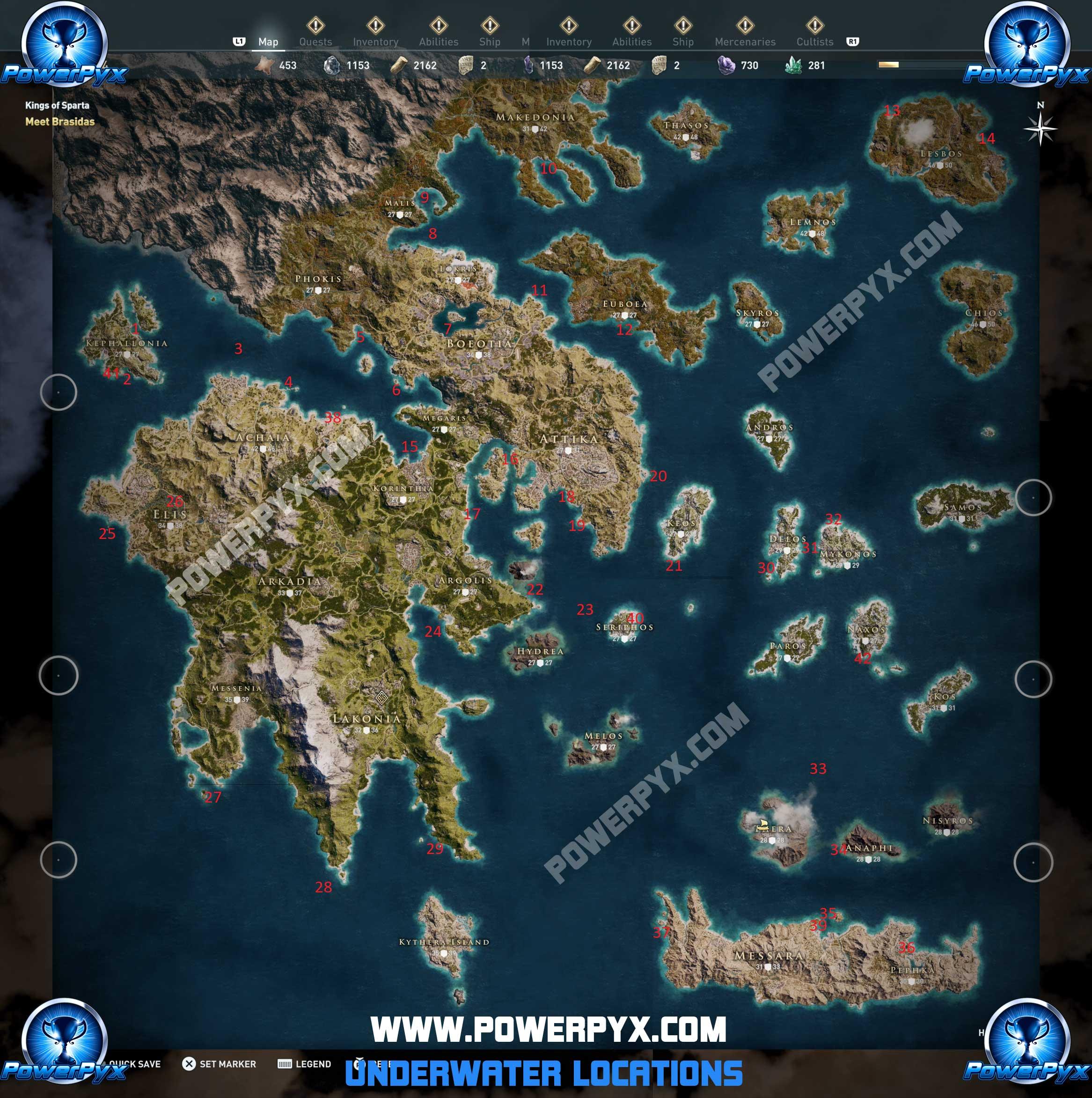 assassins creed odyssey underwater locations map - Assassin's Creed Odyssey, tutte le località subacquee