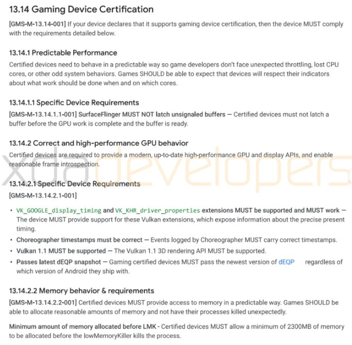 google gaming device certification