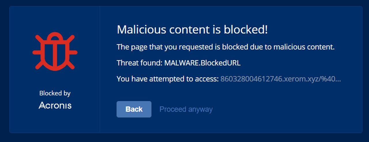 Malicious content blocked - Acronis lancia la piattaforma integrata per la sicurezza informatica Acronis Cyber Protect Cloud
