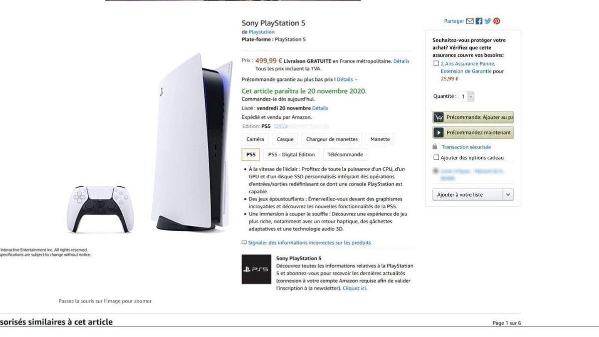 amazonfranceleakplaystation5 - Svelato prezzo e data d'uscita di PlayStation 5?