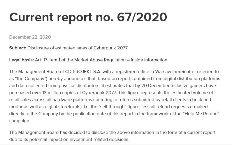 Cyberpunk 2077 Nota agli investitori